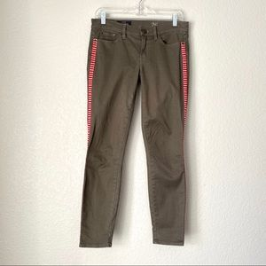 J CREW •Toothpick Ankle• Olive Red Trim Pants (26)